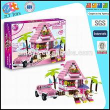 Ilustrar a los juguetes de ladrillo, villa playa de bloque de construcción 2 con muñecas y coche 300 pcs