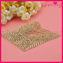fashion sew on golden beads applique iron on patches wholesale WRA-501