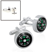 USABLE REAL WORKING SENSE OF DIRECTION COMPASS SILVER PLATED MENS SUIT CUFFLINKS