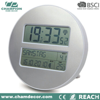 Cheap analog fluorescent light circular digital wall clock date and day display , time alarm clock with travel led torch