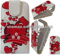 Red Flower Love Heart Leather Flip Case Cover Pouch For Blackberry z3