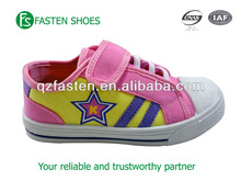Wholesale cheap kids canvas shoes buckle strap durable&comfortable daily wearing pliable PVC injection sole colorful of 2015