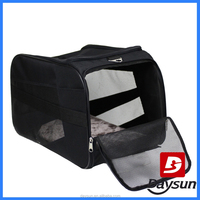 Foldable pet travel carrier bag with mesh