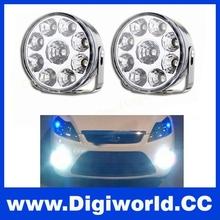 2Pcs/LOT Car LED Head Front Round Fog Tail Light Daytime Running Light for Ford
