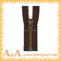 8# black metal zipper with open-end and Y/G