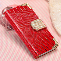Rhine stone bling bling fashion new style mobile phone pouch case for Iphone 5 5S with wallet usage