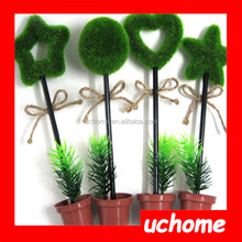 UCHOME Country Style Green Plant Pen,Pot Plant Sweet Heart Pen,Decorated Pen
