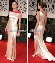 Satin A line One Shoulder Floor Length Angelina Jolie At 2012 Golden Globe Awards Red Carpet Dresses Celebrity Gown