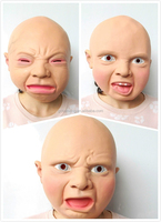 Halloween Angry Scary Baby Full Head Latex Mask Adult Costume Party Prop