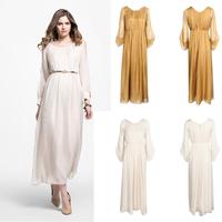 2015 New Fashion Design chiffon simple maxi long women dress wholesale elegant long sleeve dresses for muslim ladies
