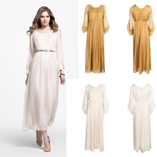 2015 New Fashion Design chiffon simple maxi long dress wholesale elegant long sleeve dresses for muslim ladies