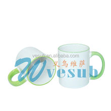 2015 Wholesale rim handle mugs newest style 11oz ceramic mug with color rim and handle