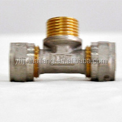 3 Way Male Brass Ball Valve for Pex-Al-Pex Pipes,Compression Fitting Male Tee ,Fitting for Pipe Fitiing Equal Tee Coupling