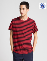 Buy cheap red and black stripe t-shirt from factory custom cotton red and black stripe t-shirt