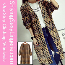 New Stylish Wholesale Yellow Multiple Wavy Stripes Open Front Cardigan Womans Winter Wear