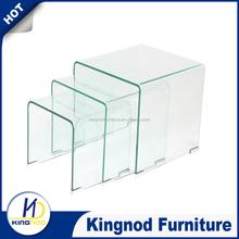 Shanghai fair clear bent glass coffee table set