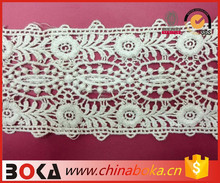 BOKA stylish cotton embroidered crochet lace trim natural color