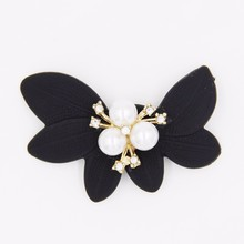 brazilian hair pearl alloy 32mm*54mm black acrylic hair flower accessories P02825