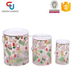 New Design Christmas Plastic Food Storage Box, Plastic Bucket with Handle