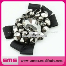 Plata& negro forma de moño de la moda de cristal de diamante de imitación mini flor de calzado accesorios