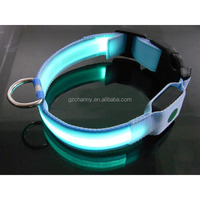 LED Colorful Nylon Electric Pets Cat Dog CollarNight Waterproof Safety Light-up Flashing Glow In The Dark