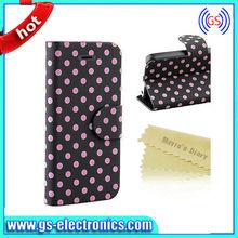Polka Dot Pattern Leather Wallet Case For Mobile Phone Case