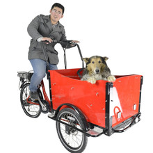 CE qualified bakfiets family pedal three wheeler cargo electric tricycle for shopping