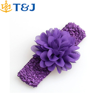 Hot Sale Kids Hair Accessories 16 Color Baby Girls Wide Lace Chiffon Knitted Flower Headband