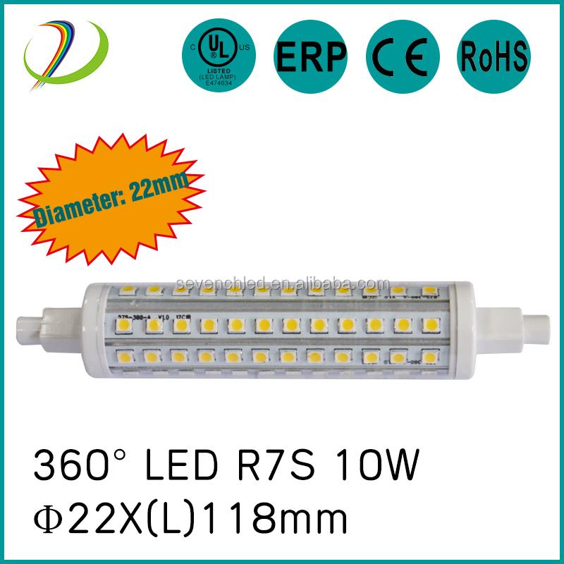 Spannung AC85-265V 10 watt 118mm led r7s UL Durchmesser 22mm 360 grad led 118mm led r7s lampe