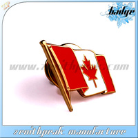 2014 Cheap item high quality brass gold canada lapel pins with butterful clutch
