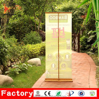 Outdoor PVC flex banner display bamboo telescopic rollup banner stand