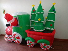 Inflatable Santa Claus Driving Train 8 FT Lights Up Christmas Trees Fantastic