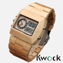 Top Fashion Luxury Double Movement Digital Wood Watch Natural Wood Digital and Quartz Movement Wooden Watch