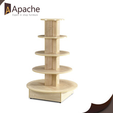 Original wood color 4-Tier Round Pine Wooden Display Stand