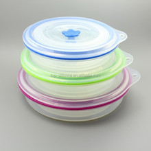 Rouond Portable Collapsible Silicone Lunch Box Container