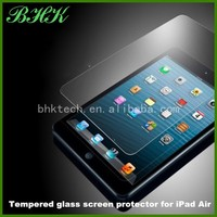 9H ultra slim high clear Tempered glass screen protector for iPad Air ,glass edge protector