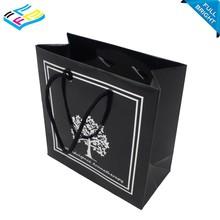 accept custom design logo printed glossy laminated black paper shopping bag
