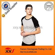 Color contrast blank plain raglan oversized sportswear baseball t shirts curved hem t-shirt clothes