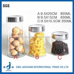 big bottom cylinder glass coffee jar with metal window lid