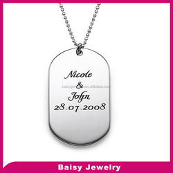 men jewelry stainless steel Personalized Dog id Tag Necklace Custom Made with Any Name