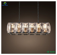 Luxury Rectangle shape crystal suspended ceiling lighting crystal chandelier