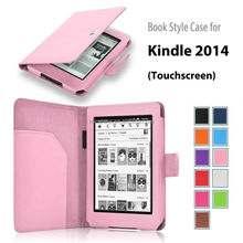 """book style leather case cover for New Amazon Kindle 7th 2014 Touchscreen E-reader 6"""" 79$ edition new released 2014 Ootober"""