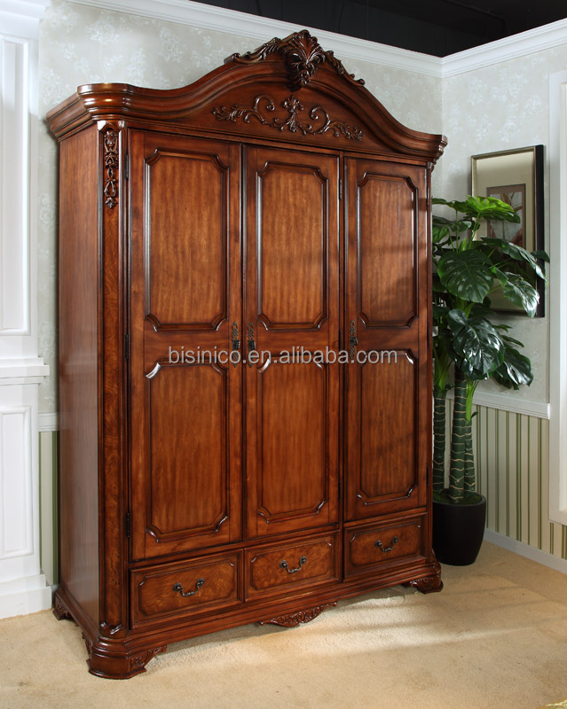 Royal Solid Wood Hand Carved Double Bed Queen Size Bed Bedroom Furniture V
