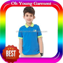 promotional 100% cotton pique children polo t shirt fashionable plain contract color OEM children boys polo t shirt for printing