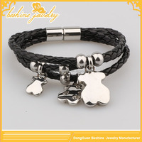 Leather Wrap Football Team Bracelet With Magnetic Clasp