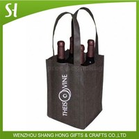 bulk high quality holiday christmas beer wine gift non woven tote hard 4 bottle wine bag wholesale
