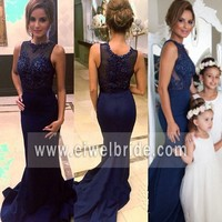 Sexy scoop neck beaded long chiffon blue mermaid back see through evening dress for seniors