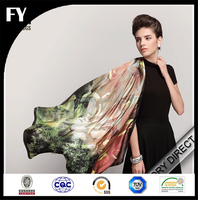 Custom Design Scarf Digital printed raw silk scarf