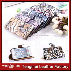 leopard print parttern Universal Cell Phone Bag PU Leather Case Cover Pouch for iPhone 6