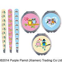 Woodland Series Animal Compact Mirror & Tweezers Set